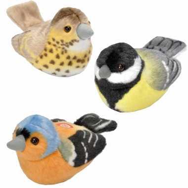 Set stuks pluche vogels knuffels geluid kopen