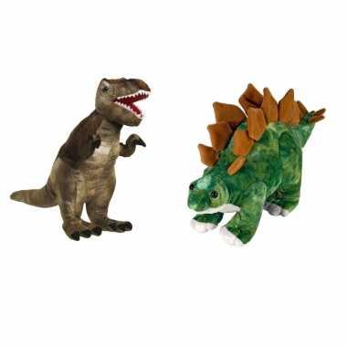 Setje knuffel dinosaurussen t rex stegosaurus kopen