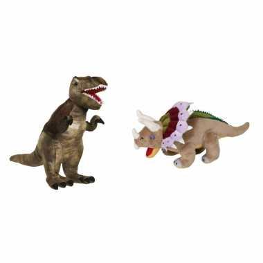 Setje knuffel dinosaurussen t rex triceratops kopen