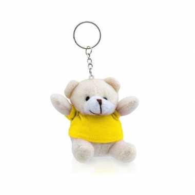 Teddybeer sleutelhangertje geel kopen
