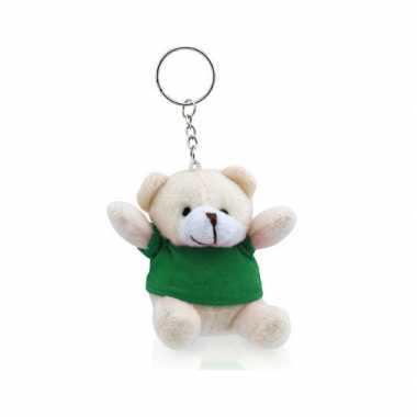 Teddybeer sleutelhangertje groen kopen