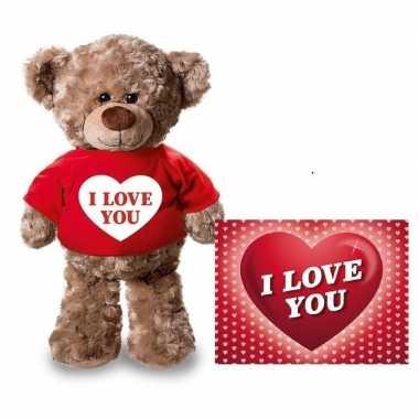 Valentijn i love you hart knuffelbeertje rood ansichtkaart kopen