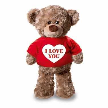 Valentijn i love you knuffelbeer rood shirtje kopen