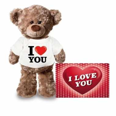 Valentijn i love you knuffelbeertje ansichtkaart kopen