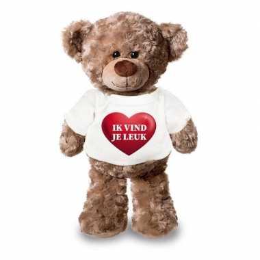 Valentijn ik vind je leuk knuffelbeer hartje kopen