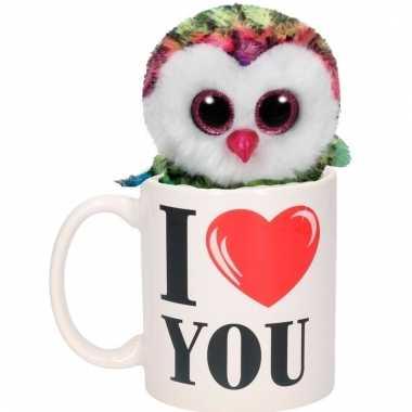 Valentijn kado i love you beker gekleurde pluche uil kopen