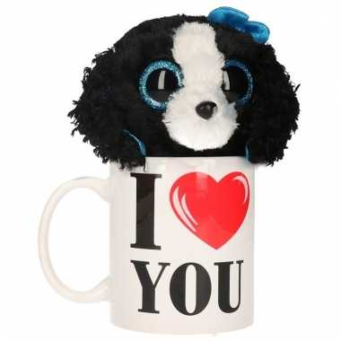 Valentijn kado i love you beker pluche hond kopen