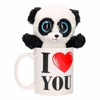 Valentijn kado i love you beker pluche panda kopen