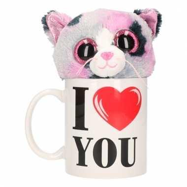 Valentijn kado i love you beker pluche poes/kat kopen