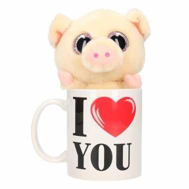 Valentijn kado i love you beker pluche varken/big kopen