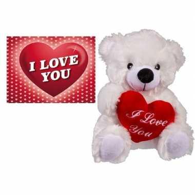 Valentijnscadeau witte knuffelbeer valentijnskaartje kopen