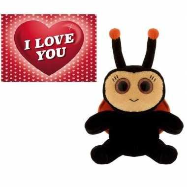 Valentijnskaart pluchte lieveheersbeestje kopen