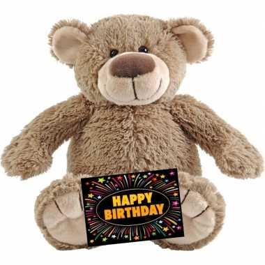 Verjaardag knuffel beer beige + gratis verjaardagskaart kopen