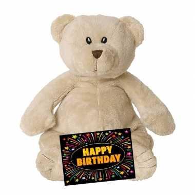 Verjaardagcadeau beren knuffel beige gratis verjaardagskaart kopen 10105515