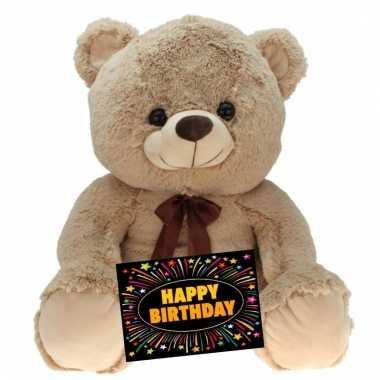 Verjaardagcadeau beren knuffel beige + gratis verjaardagskaart kopen