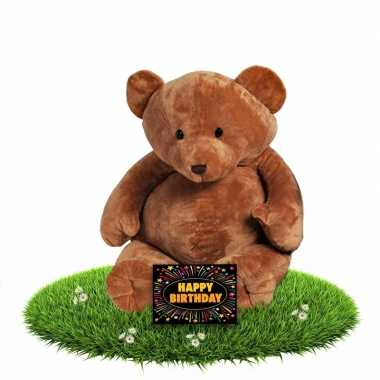 Verjaardagcadeau beren knuffel boris + gratis verjaardagskaart kopen
