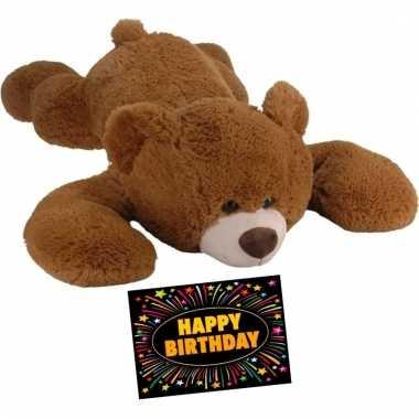 Verjaardagcadeau beren knuffel bruin + gratis verjaardagskaart kopen