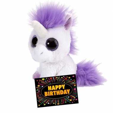 Verjaardagcadeau eenhoorn knuffel ty beanie + gratis verjaardagskaart