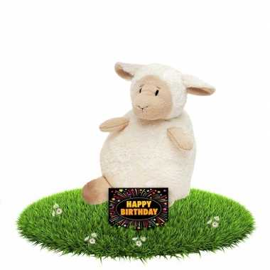 Verjaardagcadeau schapen knuffel beige + gratis verjaardagskaart kope