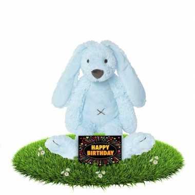 Verjaardagscadeau knuffel konijn/haas blauw gratis wenskaart kopen