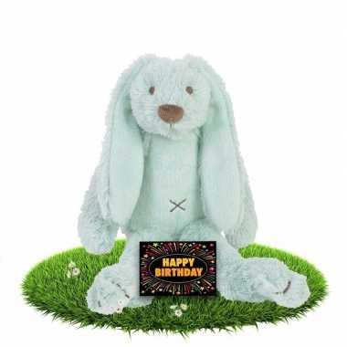 Verjaardagscadeau knuffel konijn/haas mint gratis wenskaart kopen