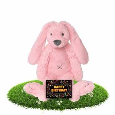 Verjaardagscadeau knuffel konijn/haas roze gratis wenskaart kopen