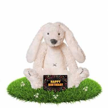 Verjaardagscadeau knuffel konijn/haas wit gratis wenskaart kopen