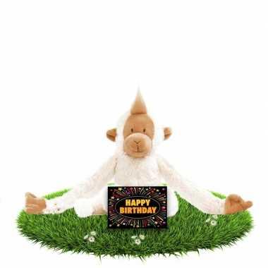 Verjaardagscadeau knuffel slingeraap gratis wenskaart kopen
