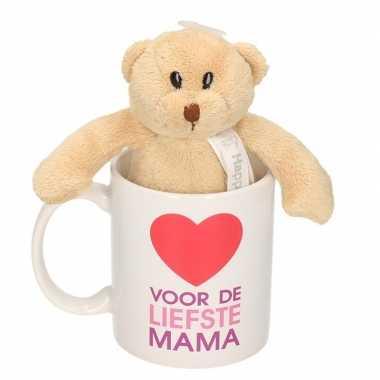 Voor liefste mama cadeau mok / beker berenknuffel moederdag kopen