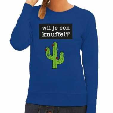Wil je een knuffel fun sweater blauw dames kopen