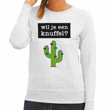 Wil je een knuffel fun sweater grijs dames kopen