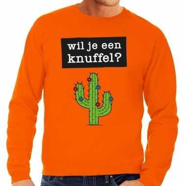 Wil je een knuffel fun sweater oranje heren kopen