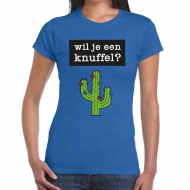 Wil je een knuffel fun t shirt blauw dames kopen