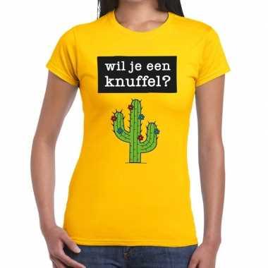 Wil je een knuffel fun t shirt geel dames kopen