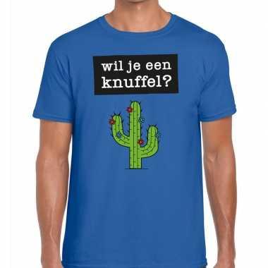 Wil je een knuffel fun t shirt heren blauw kopen