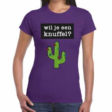 Wil je een knuffel fun t shirt paars dames kopen