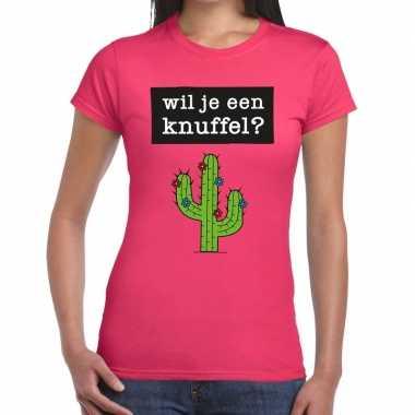 Wil je een knuffel fun t shirt roze dames kopen