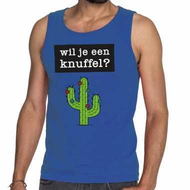 Wil je een knuffel fun tanktop / mouwloos shirt blauw heren kopen