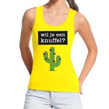 Wil je een knuffel fun tanktop / mouwloos shirt geel dames kopen