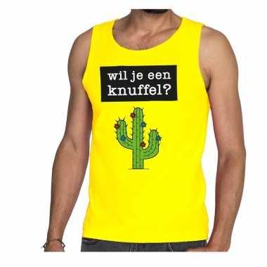 Wil je een knuffel fun tanktop / mouwloos shirt geel heren kopen