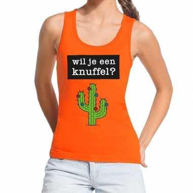 Wil je een knuffel fun tanktop / mouwloos shirt oranje dames kopen