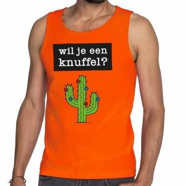 Wil je een knuffel fun tanktop / mouwloos shirt oranje heren kopen