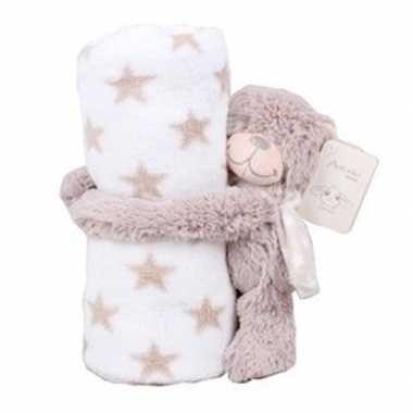 Wit/beige sterrenprint deken klittenband beren knuffel kopen
