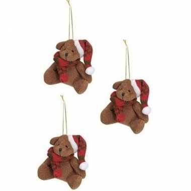 X stuks kersthangers knuffelbeertjes bruin rode sjaal muts kopen