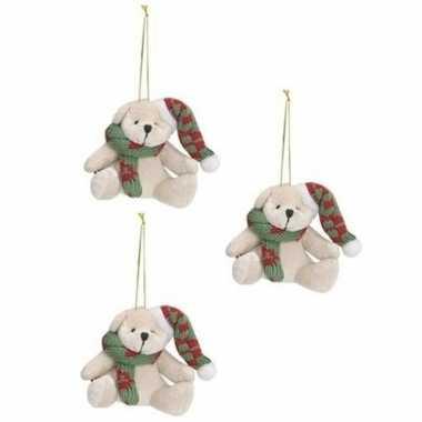 X stuks kersthangers knuffelbeertjes wit groene sjaal muts kopen