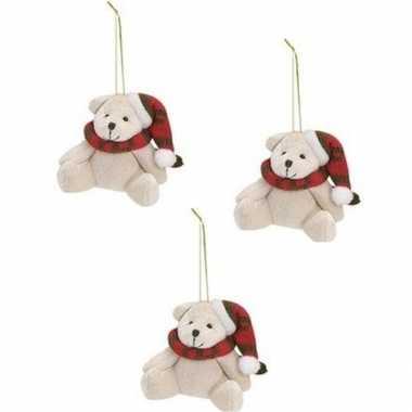X stuks kersthangers knuffelbeertjes wit rode sjaal muts kopen
