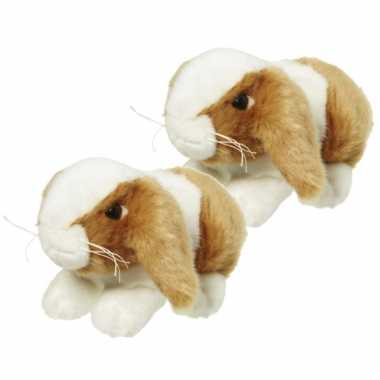 X stuks pluche knuffel konijn bruin/wit kopen