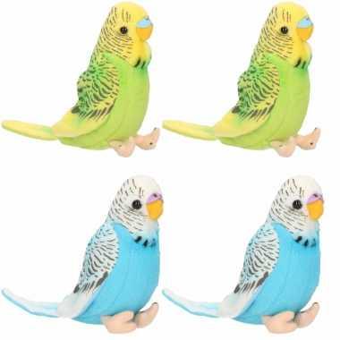 X stuks pluche knuffel parkieten setje vogels blauw groen kopen