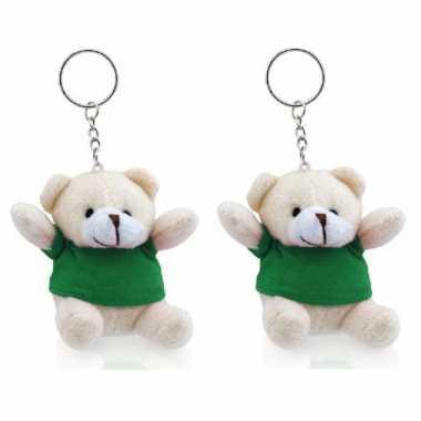 X stuks teddybeer knuffel sleutelhangertjes groen kopen
