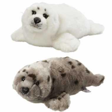 X stuks zeehonden knuffels wit grijs kopen